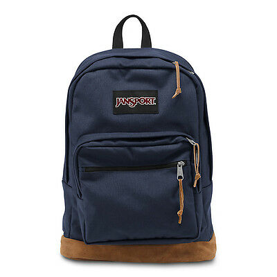 "Jansport ""Right Pack"" Backpack Suede School Book Bag Laptop Authentic Navy"