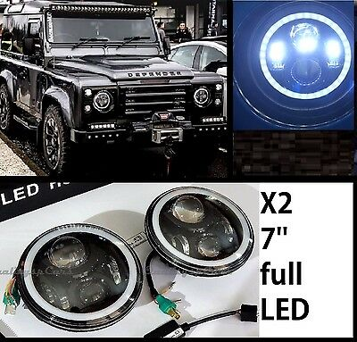 Coppia Fari DEFENDER 90 td5 110 ROVER Headlights NERO 7'' ANGEL EYES H4 OMOLOGA