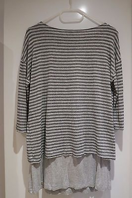 Seraphine Grey Stripes Nursing Top UK Size 10