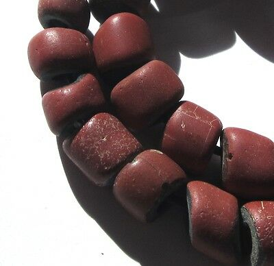 26Rare Amazing Old Brick Red Venetian Greenheart Antique Beads 1700's