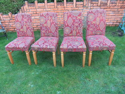 4 X Wood & Fabric Tapestry Style Dining Room Chair Chairs Kitchen Lounge