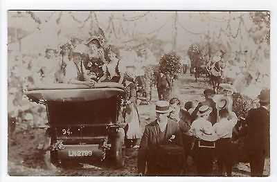 Carnival Show Scene Young Ladies In Vintage Motorcar Old Real Photo Postcard