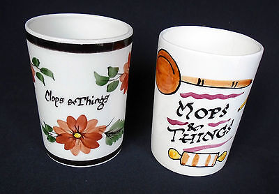 """2x Vintage Toni Raymond Pottery Mops & Things Cylindrical Pots / Holders - 4 ¾""""H"""