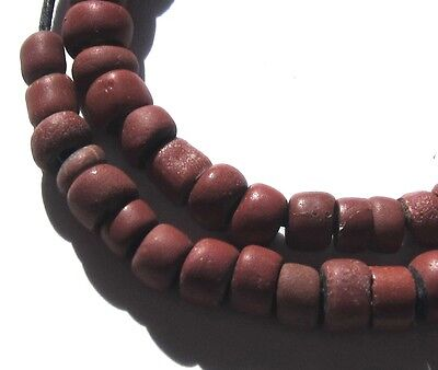 25 Rare Small Amazing Old Brick Red Venetian Greenheart Antique Beads 1700's