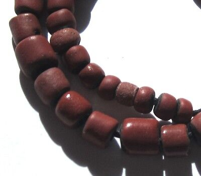 35 Rare Amazing Old Small Brick Red Venetian Greenheart Antique Beads 1700's