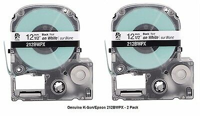 "2-PACK GENUINE K-Sun/Epson 212BW Black on White PX Label Tape 1/2"" KSun 212BWPX"