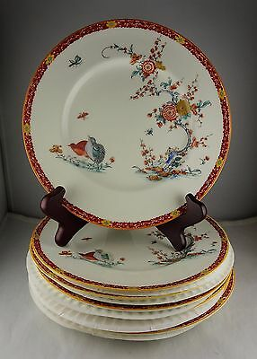 Eight Royal Worcester Luncheon Plates - Old Bow Red Reproduction
