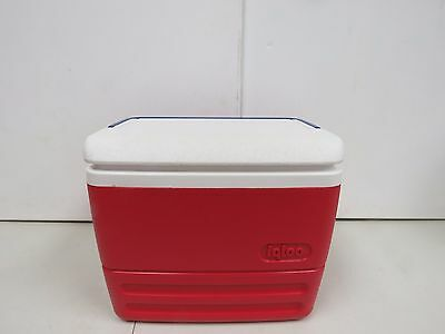 Vintage IGLOO Personal Cooler Lunchbox Red & White w/ Drink Lid   2037C