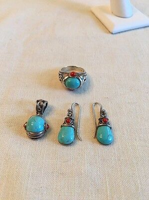 Vintage SX Thailand Sterling Turquoise Red Coral Earrings Ring 7.5 & Pendant Set
