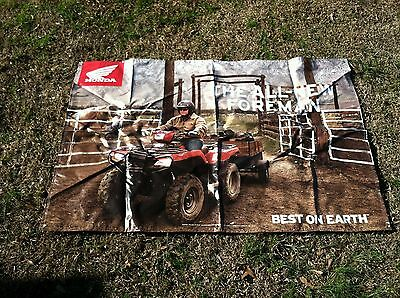 "HONDA FOREMAN BANNER HUGE 71"" x 47"" BEST ON EARTH THE ALL-NEW FOREMAN RANCH FARM"