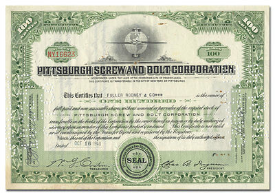 Pittsburgh Screw and Bolt Corporation Stock Certificate