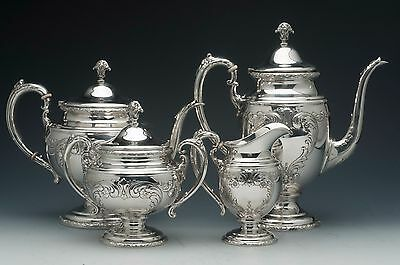 Old Master pattern by Towle 4 Piece Sterling Silver Coffee and Tea Set