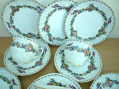 Collection Of Pretty Vintage/retro Crown Bone China Cups, Saucers And Plates