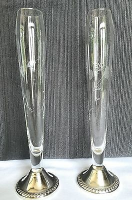 """PAIR (2) of DUCHIN STERLING SILVER Crystal Champagne Fluted Rose Bud Vases 9.5"""""""