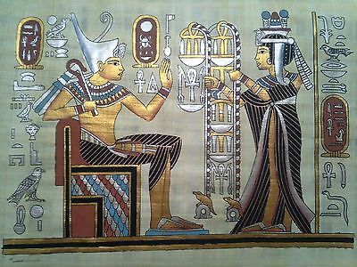 Hand Painted Egyptian Art On Papyrus, Number 3 New Ea