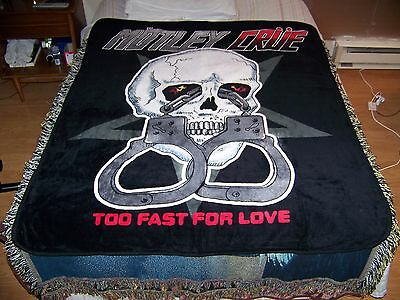 NEW Vintage 2012 MOTLEY CRUE Soft Plush Throw Blanket Tapestry TOO FAST FOR LOVE