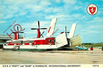 """Postcard:-S.R.N.4. """"Swift"""" And """"Sure"""" Hovercraft At Ramsgate Hoverport"""