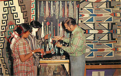 Postcard-:Pueblo Indians, A Trade In The Making, Wampum