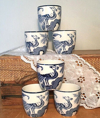 "Set of 6 Wood & Sons China ""YUAN"" EGG CUPS BOWLS/blue White/cobalt/transferware"