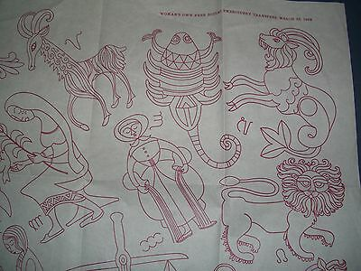 Vintage Embroidery Transfer full 12 zodiac signs, from 1940's