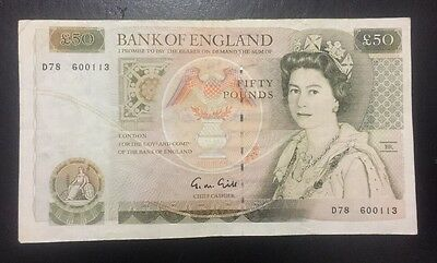 Bank Of England £50 Note, G M Gill EF Condition D78 600113.