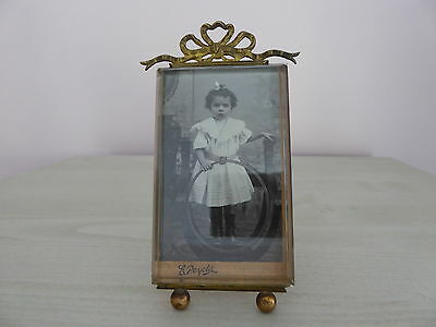 Antique French Picture Frame - Bow Ormolu & Bevelled Glass + Original Picture