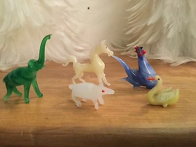Miniature Vintage Hand Blown Art glass animals lot of 5