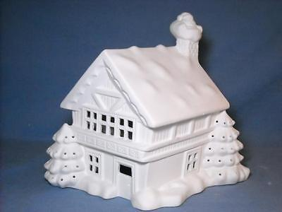 "Ceramic Ready To Paint Christmas Village House / Lodge 9 1/2"" T X 8 1/2"" X 9"""