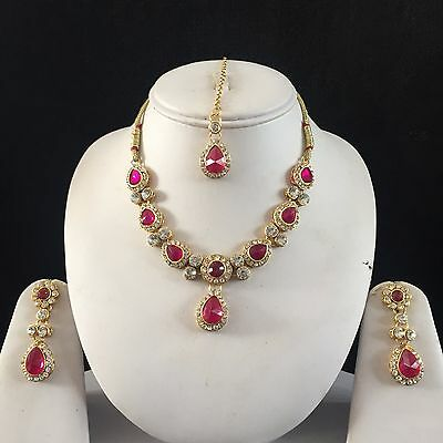 Pink Gold Indian Costume Jewellery Necklace Earrings Crystal Set Bridal New 12