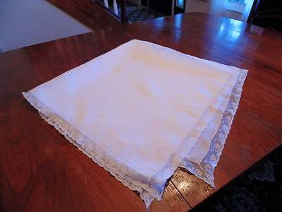 Lovely vintage crisp white fine cotton tablecloth with lace edge