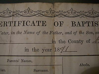 Genuine Antique vintage Certificate of Baptism from 1891