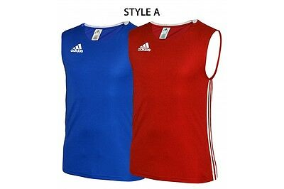 Adidas Boxing Vest AIBA Competition High neck Sleeveless Tank Top Gym Red Blue