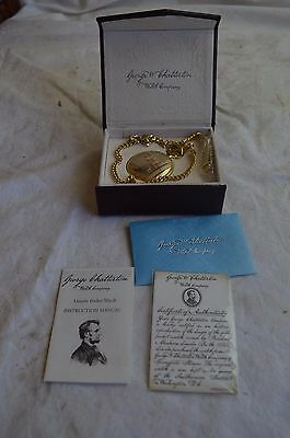 New George Chatterton Abraham Lincoln 20 Jewel Gold Pocket Watch Hunter Case