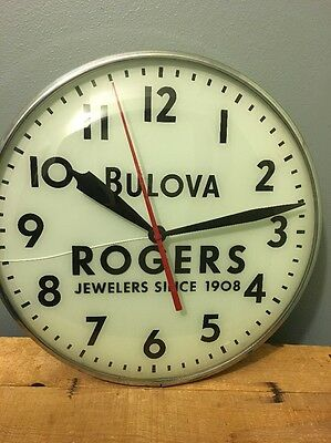 Vtg Antique Bulova Wall Clock Rogers Jewelers Advertising Store Display Watch 15