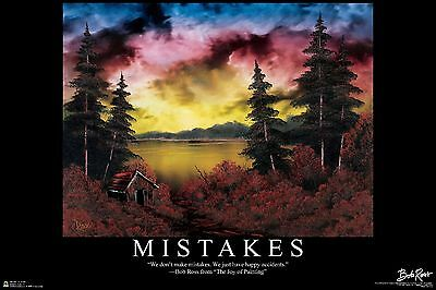 BOB ROSS - MISTAKES - INSPIRATIONAL ART POSTER 24x36 - 3114