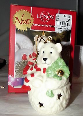 Lenox Polar Bear Color Changing Lit Christmas Ornament Porcelain Gold Trim NIB