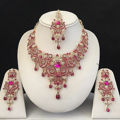 Pink Gold Indian Costume Jewellery Necklace Earrings Diamond Set Bridal New Gift