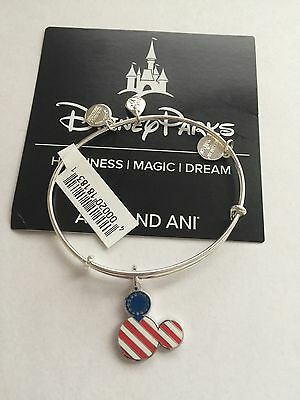 Disney Parks Mickey Icon Flag Bangle by Alex and Ani Silver Finish New Tags