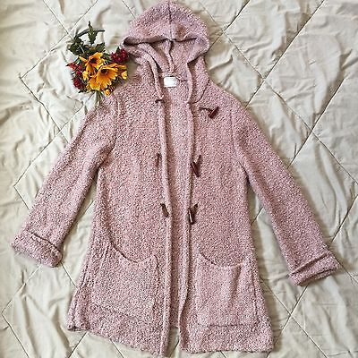 Zara Girls Blush Knit Sweater Hoodie With Toggle Long Sleeves Size 13 14
