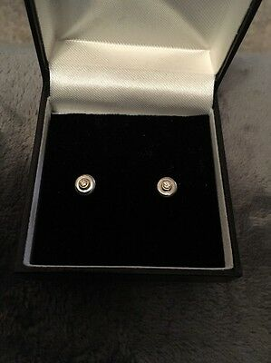 18ct 2-Colour White & Yellow Gold Diamond Stud Earrings 0.10ct TCW~Modern Design