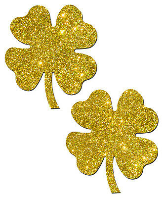 Shamrock: Lucky Gold Glittering Four Leaf Clover Nipple Pasties by Pastease