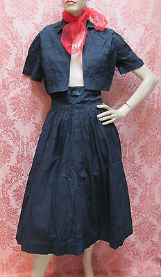 VTG 1950s *WEST SIDE STORY Smocked DIRNDL CIRCLE SKIRT & CROPPED BOLERO* $39.99