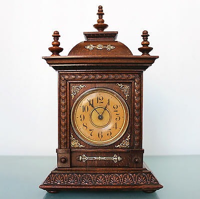 JUNGHANS ALARM Mantel TOP State! Clock Castle Shaped 1910s Antique German Shelf