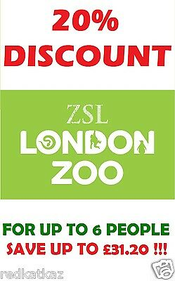 London Zoo - 20% Discount Code Voucher - Can Be Used For Up To 6 Tickets - Save