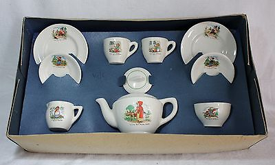 Vintage Boxed 1950's Amersham Nursery Rhymes Pottery Tea Set for 2