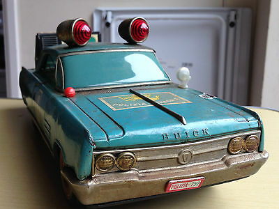 Vintage Tinplate Battery Operated Patrol Car Ichiko Japan