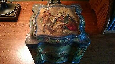 Rare Antique Keen's Mustard Tin Box circa 1890, Native Indian, Buffalo Hunt