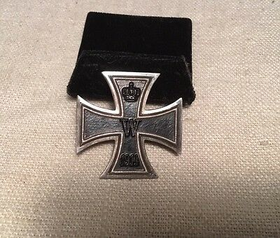 Antique WW1 German Sterling Silver Iron Cross Imperial 1914 Medal Pin