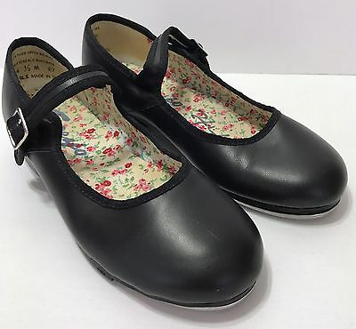 Girls Capezio Tap Shoes TeleTone Size 4.5 Black Leather Dance Mary Janes