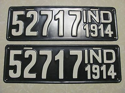 PAIR 1914 INDIANA LICENSE PLATE RESTORED repaint FREE SHIPPING #52717  2nd YEAR